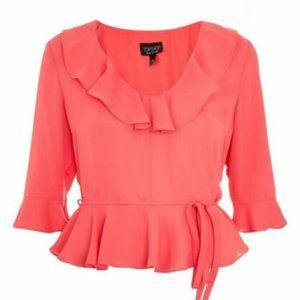 TOPSHOP Ruffle Peplum Blouse Hot Pink 3/4 Sleeve